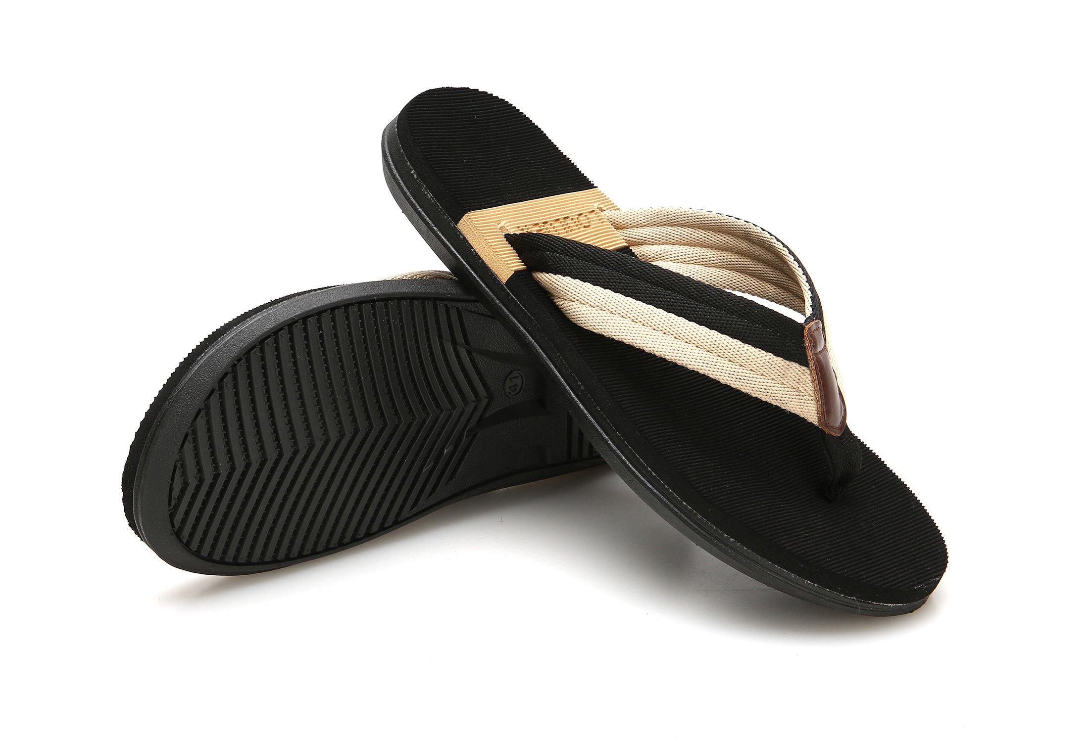VIVWAY Men's Summer Beach Flip-Flops Thongs Flexible Fashion Sandals Classical Lightweight Non-Slip Black Slippers US10