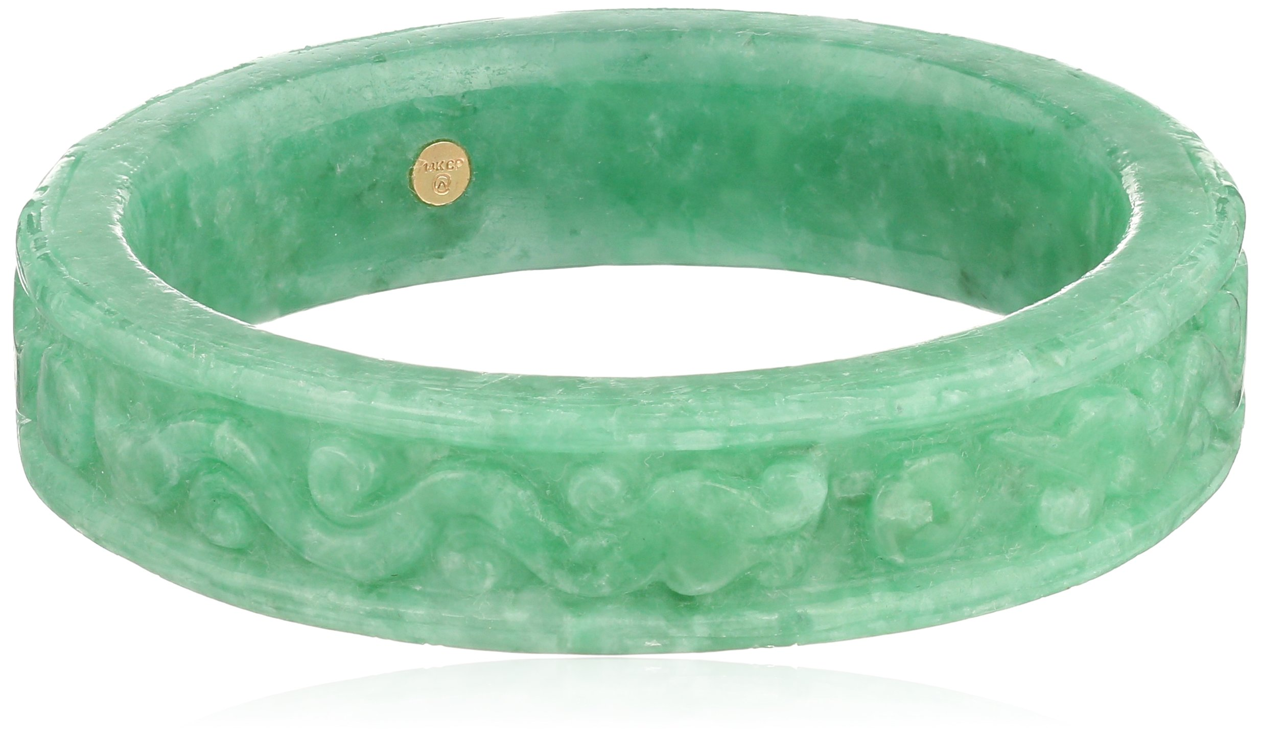 Carved Green Jade Large Slip-On Bangle Bracelet