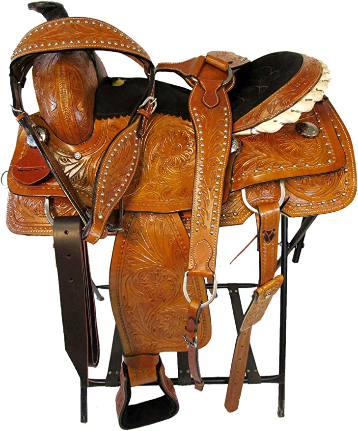 Details about  /17 16 15 PREMIUM TOOLED RODEO WESTERN SADDLE RANCH ROPING ROPER LEATHER TACK