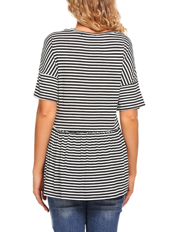 fe0c89c715a Sherosa Women's Casual Shriped High Low Hem Peplun Blouse (S, Striped) at  Amazon Women's Clothing store: