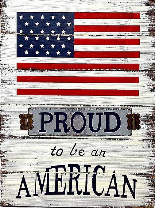 "Patriotic Vintage American Flag Sign 8 x 12/"" Tin Sign USA Patriotic Home Decor"