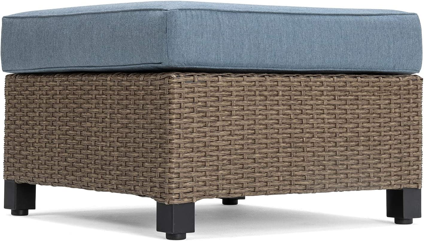 La-Z-Boy Outdoor Nolin Cushioned Ottoman Sectional Piece, Blue