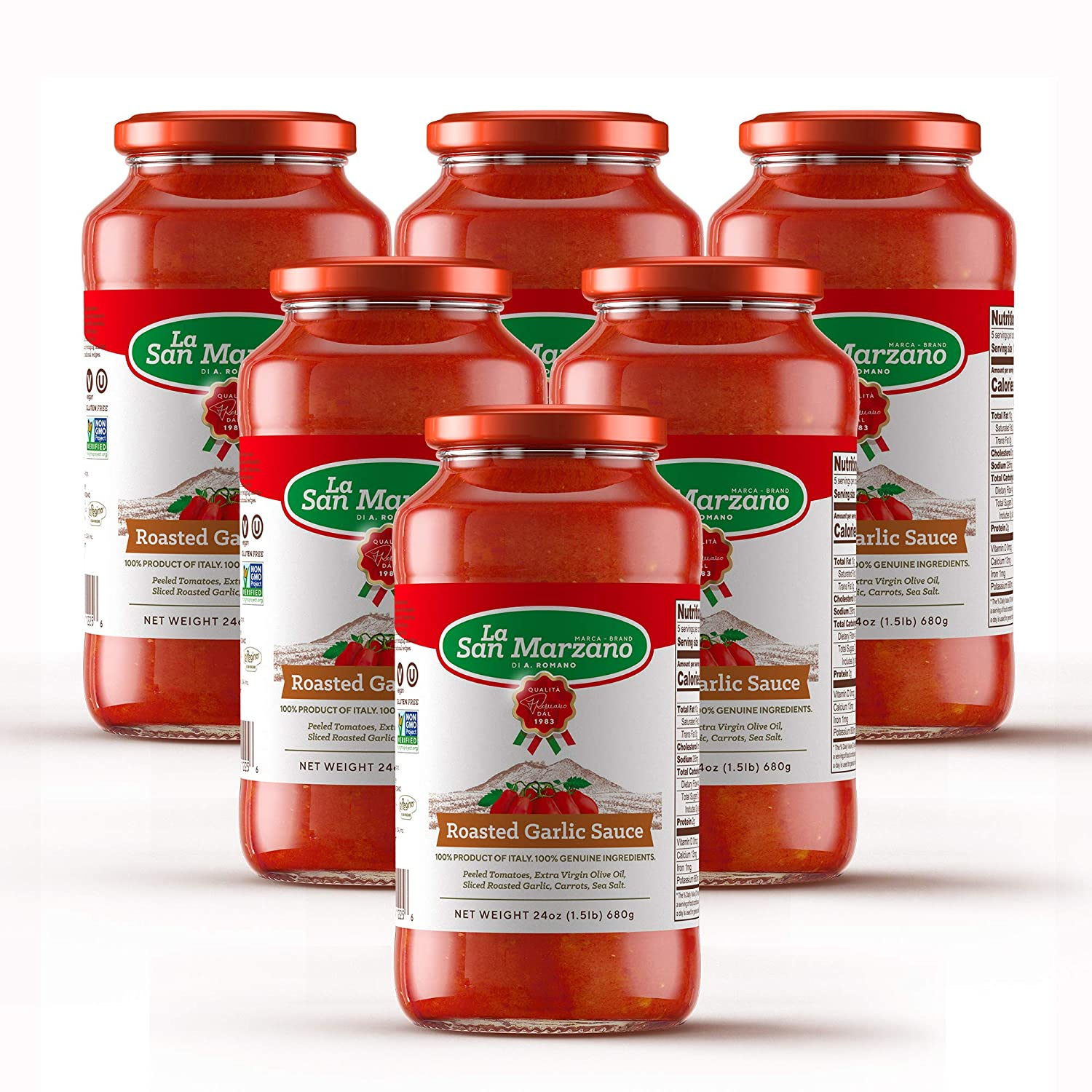 Roasted Garlic Pasta Sauce La San Marzano 100% Product of Italy 24 Ounce Jars - 100% Genuine Ingredients With San Marzano Tomatoes DOP Quality (Pack of 6)