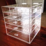 "Cq acrylic Kardashian Large Beauty Cube 5 Tier Drawers Acrylic Cosmetic organizer Handmade Multi function Makeup Organizer Storage,10""x10""x11"",pack of 1"