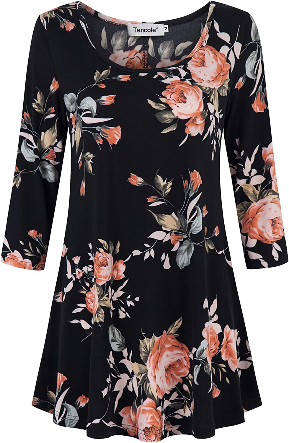 Tencole 8/8 Sleeve Shirts for Women Dressy Tunic Tops Casual Wear with  Floral