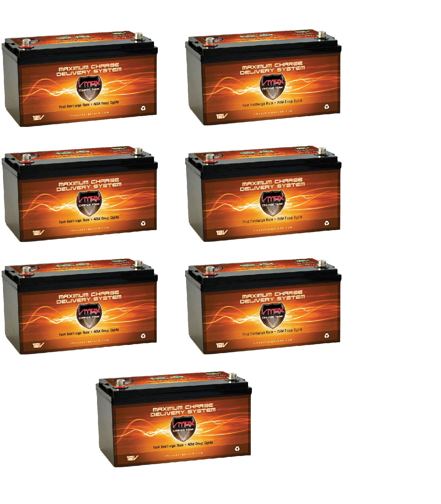 QTY 7 Vmaxtanks VMAXSLR175 AGM deep cycle 12V 1225AH battery for Use with PV Solar Panel wind turbine gas or electric power backup generator or smart charger for off grid sump pump lift winch pallet jack and any other heavy duty application by VMAX Solar