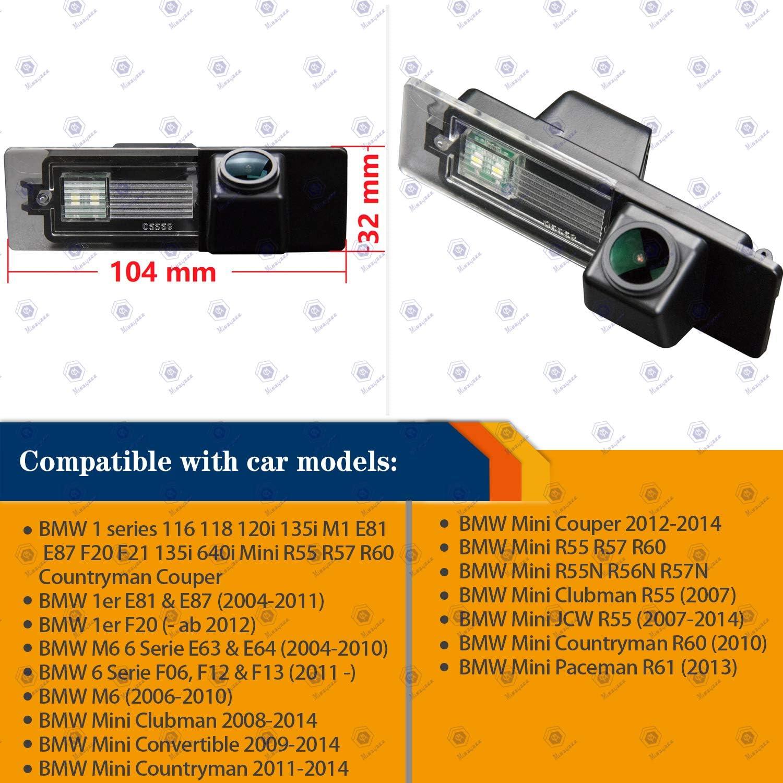HD 1280x720p Revertir Asistencia de Copia de Seguridad de la C/ámara de Aparcamiento 170/° C/ámaras de visi/ón Trasera para BMW 1er M1 E81 E87 F20 F21 116i 118i 120i 135i 640i Mini Cooper R55 R57 R60 R61