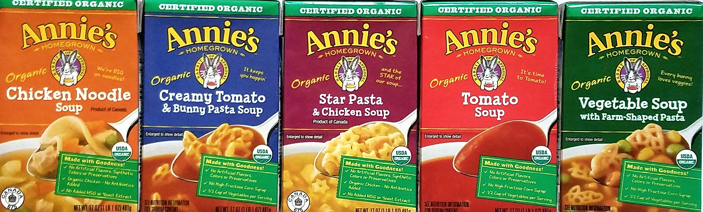 Annie's Organic Soups - Chicken Noodle, Creamy Tomato & Bunny Pasta, Star Pasta & Chicken, Tomato, Vegetable With Farm-Shaped Pasta - 17 Oz Each - Variety Pack of 5