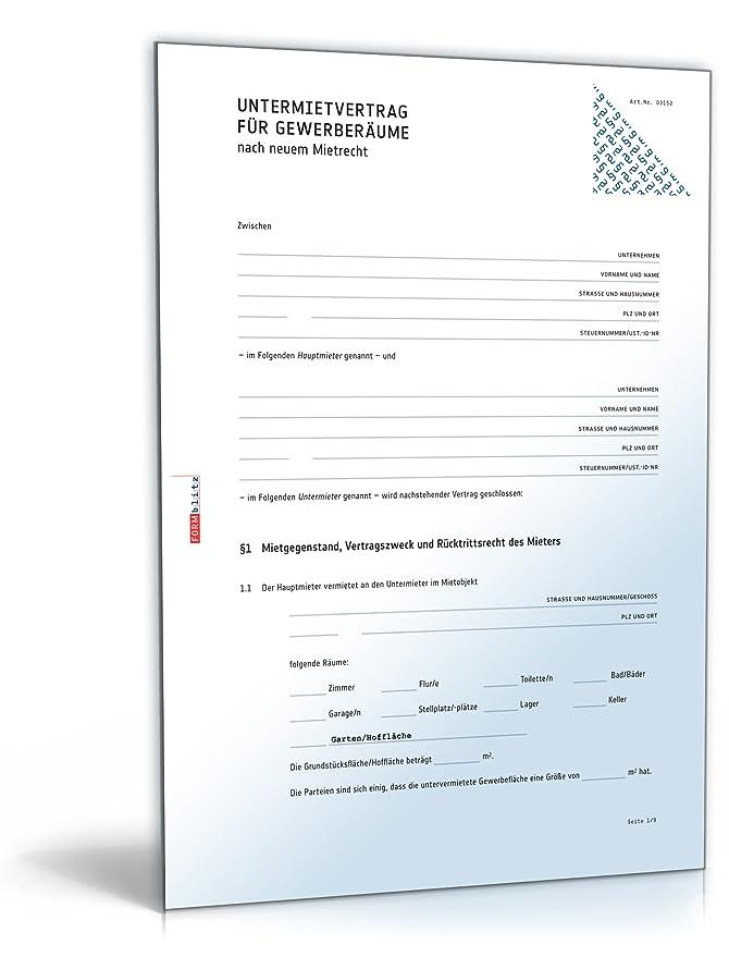 Untermietvertrag Gewerberäume Pdf Download Amazonde Software