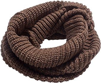 Moda Unisex Bufandas Tejidas Cuello Caliente 2 Círculo Color sólido Bufanda Chal