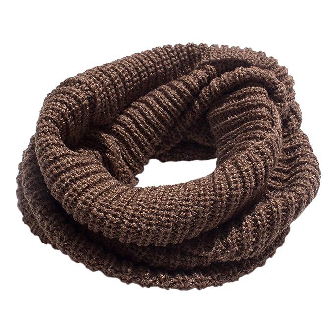 cb3a2642 Moda Unisex Bufandas Tejidas Cuello Caliente 2 Círculo Color sólido Bufanda  Chal