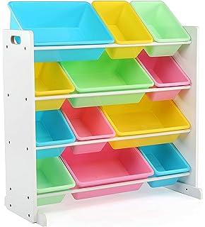 Tot Tutors Kidsu0027 Toy Storage Organizer With 12 Plastic Bins, White/Pastel (