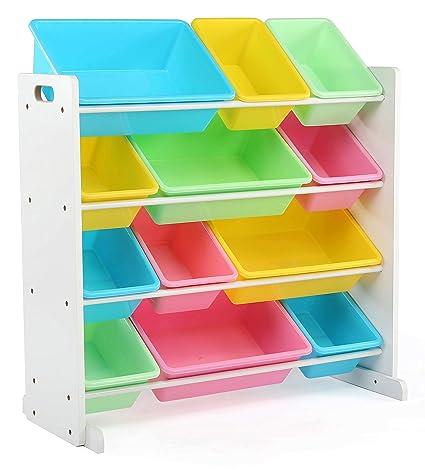 Amazon Com Tot Tutors Kids Toy Storage Organizer With 12 Plastic