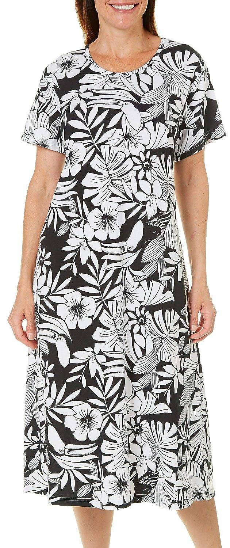 6570f4e7ab3 Coral Bay Plus Toucan Print Leisure Dress 1X Jade Green White at Amazon  Women s Clothing store