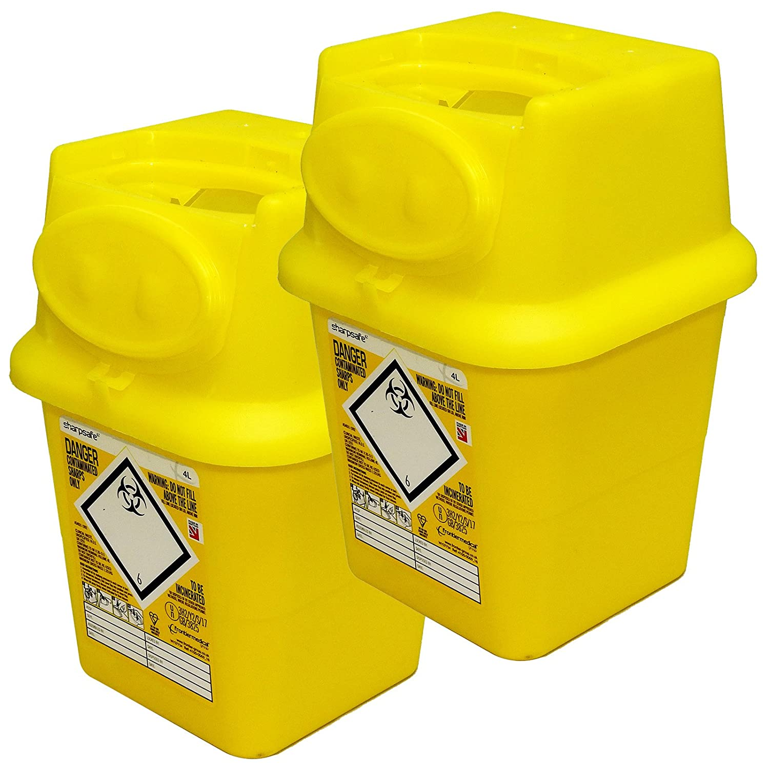 Qualicare Sharps Safe Needle Syringe Insulin Disposal Surgery Waste Bin Box - 4 Litre, Twin Pack