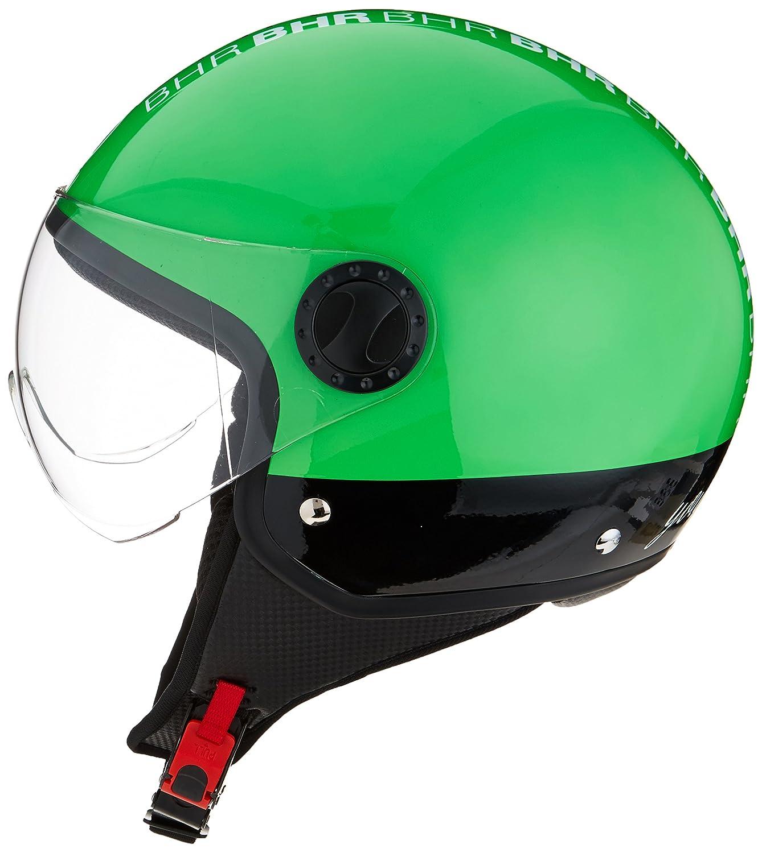XS Negro Style Neon 54 cm BHR 81462 Casco Moto Demi-Jet Linea One 801