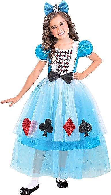 Disfraz de Miss Wonderland para niñas, mediano, con diadema ...