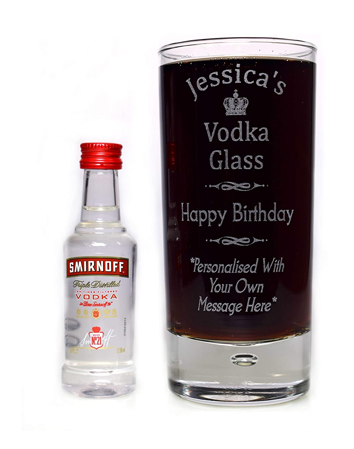Engraved/Personalised VODKA SPECIAL OCCASION Highball Glass & SMIRNOFF Miniature Gift For Mum/Dad/Nan/Nanny/Grandad/Girls/Boys/Men/Women/18th/21st/30th/40th/50th/60th/65th/Birthday/Mothers/Fathers Day/Christmas/Husband/Wife/Son/Daughter/Step Dad/Weddi