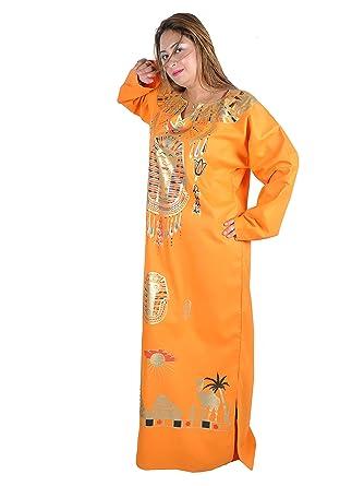 Egypt Bazar - Vestido - para mujer naranja 46: Amazon.es ...