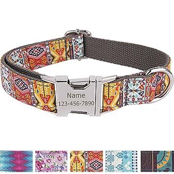 Collar personalizado para perro con nombre grabado a láser en hebilla de acero inoxidable, estampados