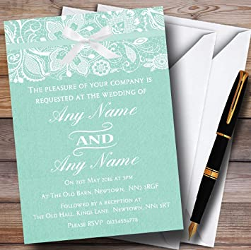 personalized wedding cards guest name vintage mint green burlap lace personalized wedding invitations amazoncom