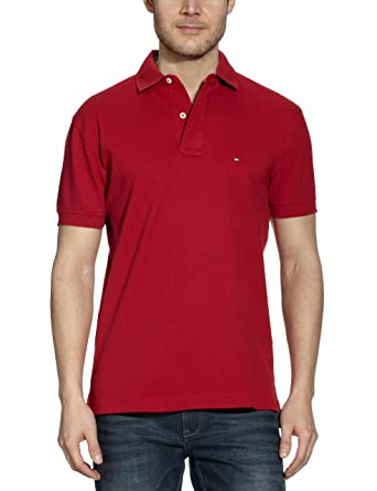 54b1c8b9 Tommy Hilfiger Men's CORE / NEW TOMMY KNIT Polo Short Sleeve T-Shirt, Red