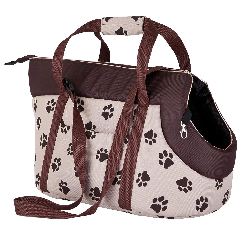 Color Negro con Estampado de Patas tama/ño 1 Bolsa de Transporte para Perros y Gatos Hobbydog