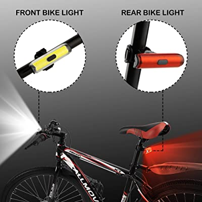 COB USB Rechargeable LED Bike Bicycle Cycling Front Rear Tail Light 4 Modes Lamp