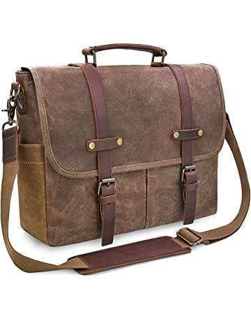 Mens Messenger Bag 15.6 Inch Waterproof Vintage Genuine Leather Waxed  Canvas Briefcase Large Satchel Shoulder Bag