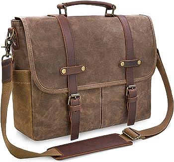 NEWHEY- Mens 15.6 Inch Waterproof Genuine Leather Messenger Bag, Brown