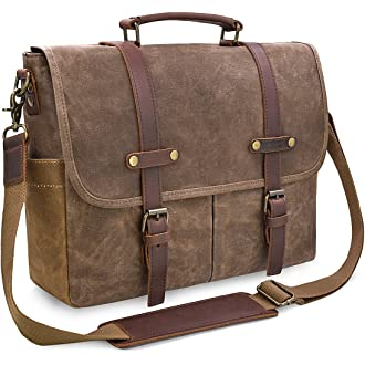 #20 Mens Messenger Bag 15.6 Inch Waterproof Vintage Genuine Leather Waxed Canvas Briefcase Large Satchel Shoulder Bag