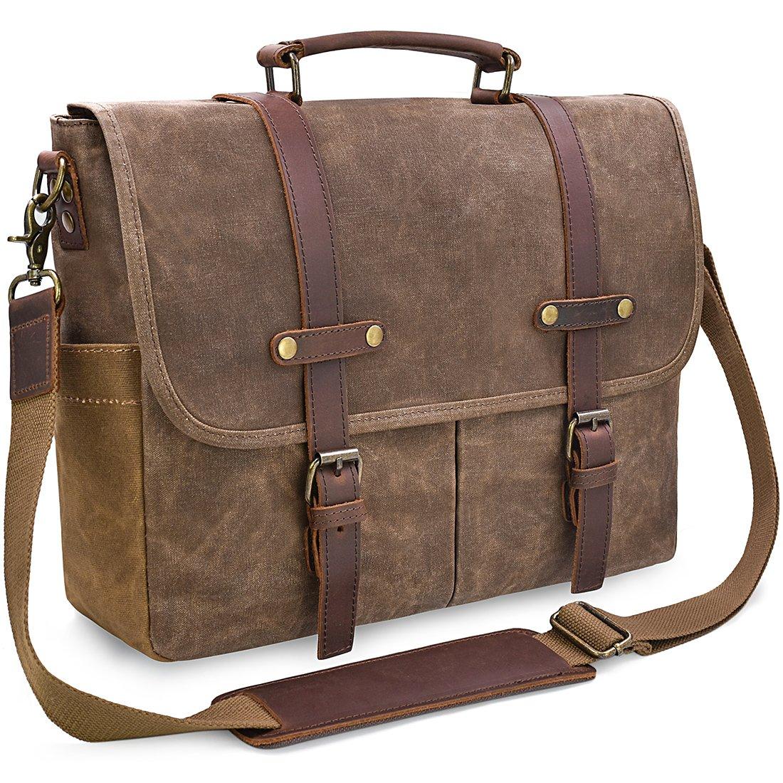 Mens Messenger Bag 15.6 Inch Waterproof Vintage Genuine Leather Waxed Canvas Briefcase Large Satchel Shoulder Bag Rugged Leather Computer Laptop Bag, Grey NEWHEY