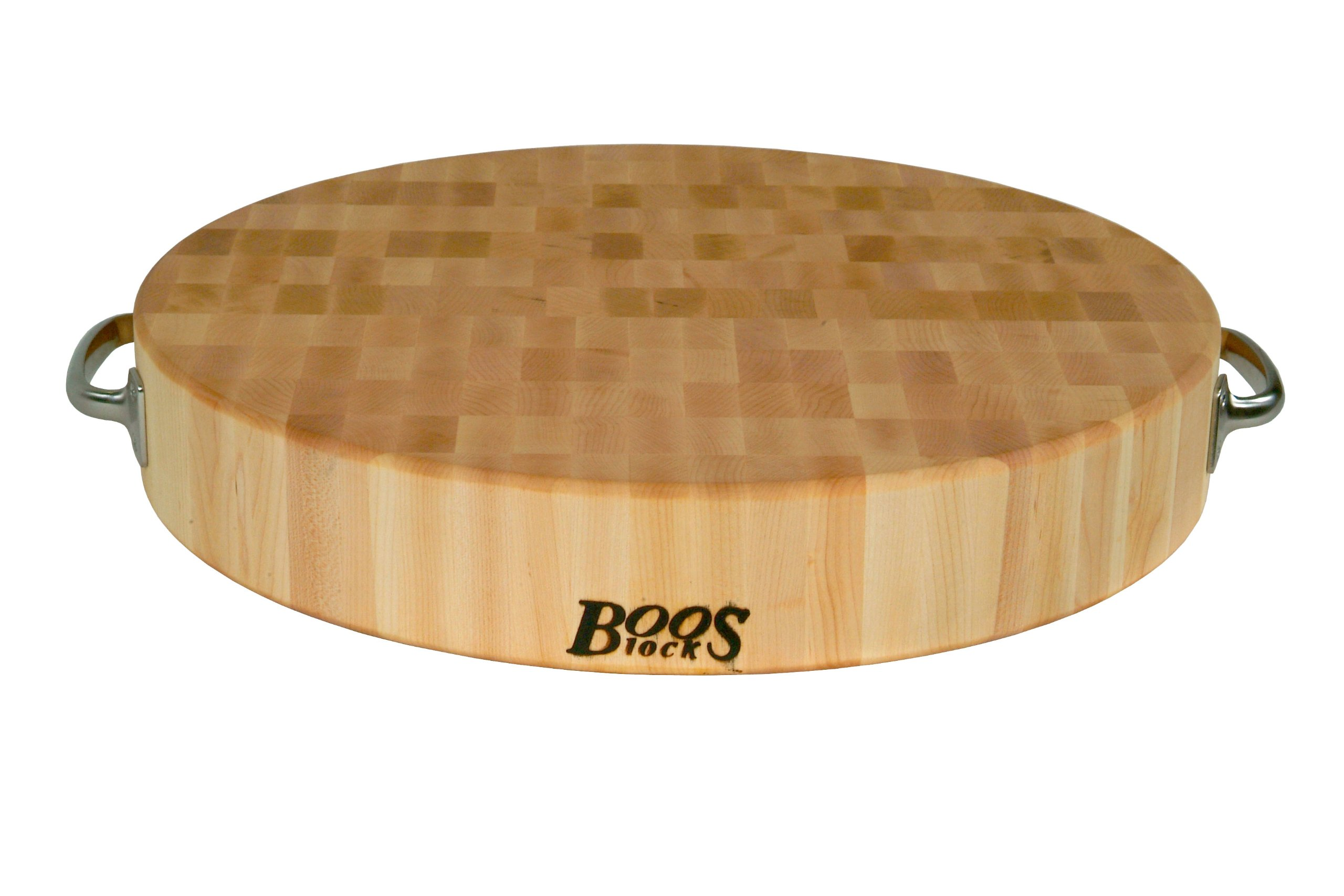 John Boos Block CCB183-R-H Maple Wood End Grain Round Cutting Board with Stainless Steel Handles, 18 Inches Round x 3 Inches Tall