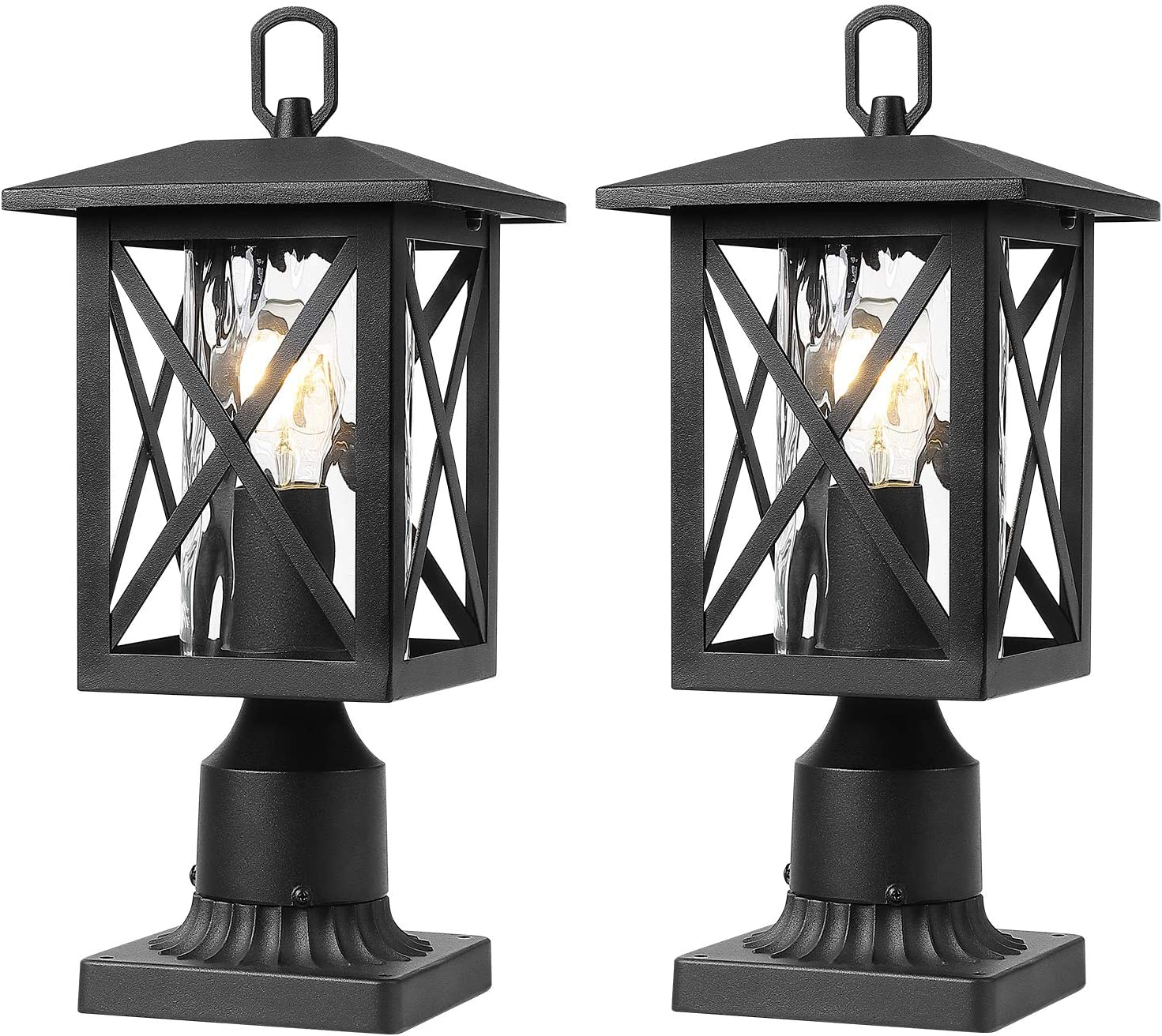 Beionxii Outdoor Post Light Fixtures | Twin Pack Exterior Post Lantern Pillar Lamp with 3 Inch Pier Mount Adapter, Sand Textured Black with Water Rippled Glass - A330P-2PK