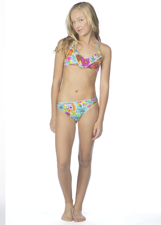 e55b7dec8b Amazon.com  Hobie Big Girls  Fleur to Love Two Piece Flounce Bikini Hipster  Swimsuit  Clothing