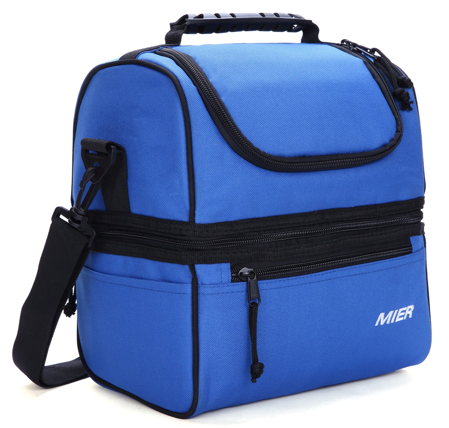 MIER Adult Lunch Box Insulated Lunch Bag Large Cooler Tote Bag for Men, Women, Double Deck Cooler(Navy Blue) by MIER