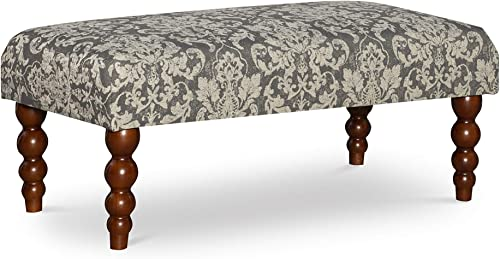 Linon Claire Bench, Gray Damask