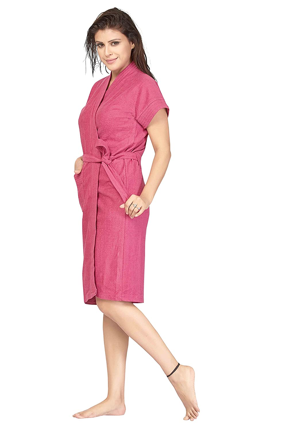 9ec6d11f60 Be You Fashion Women Terry Cotton Rose Pink Color Solid Bath Robe   Amazon.in  Clothing   Accessories