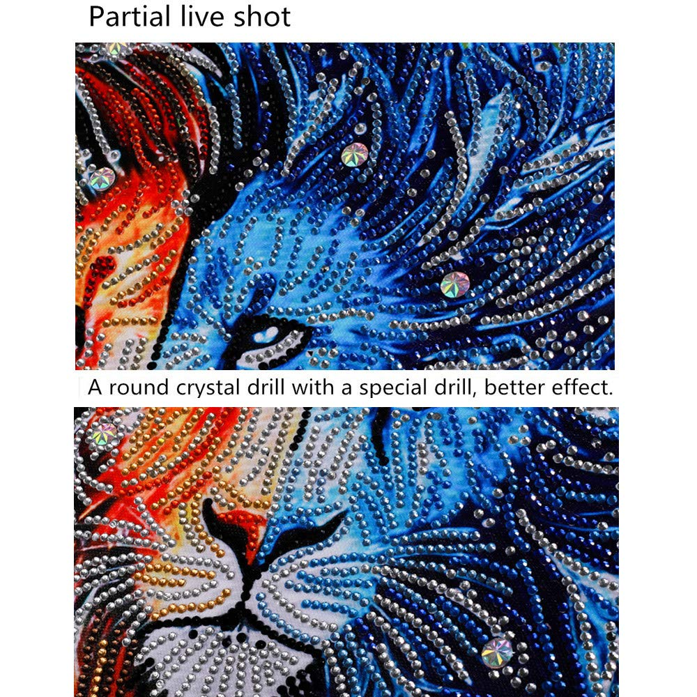 15.7x19.7inch Jeeke Ice Fire Lion DIY 5D Diamond Painting Embroidery Paintings Pasted Cross Stitch for Home Wall Decor