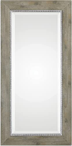 MY SWANKY HOME Rustic Weathered Wood Tall Wall Mirror 48 Extra Large Silver Distressed Vanity