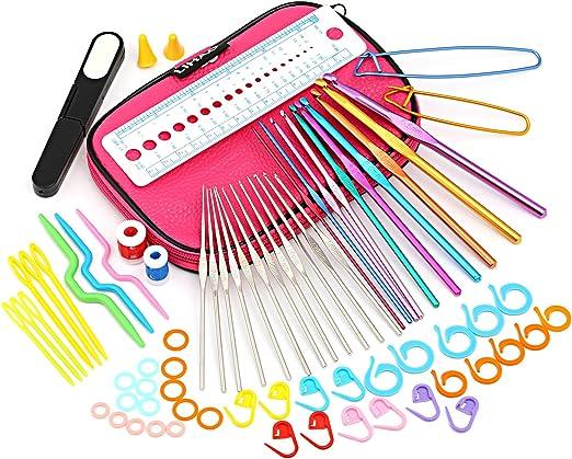 22 Slots Knitting Needle Crochet Hook Organizer Bag Holder Case Random Color WT