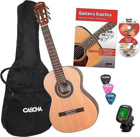 CASCHA 3/4 Juego Básico de Guitarra Clásica, incl. libro de texto ...