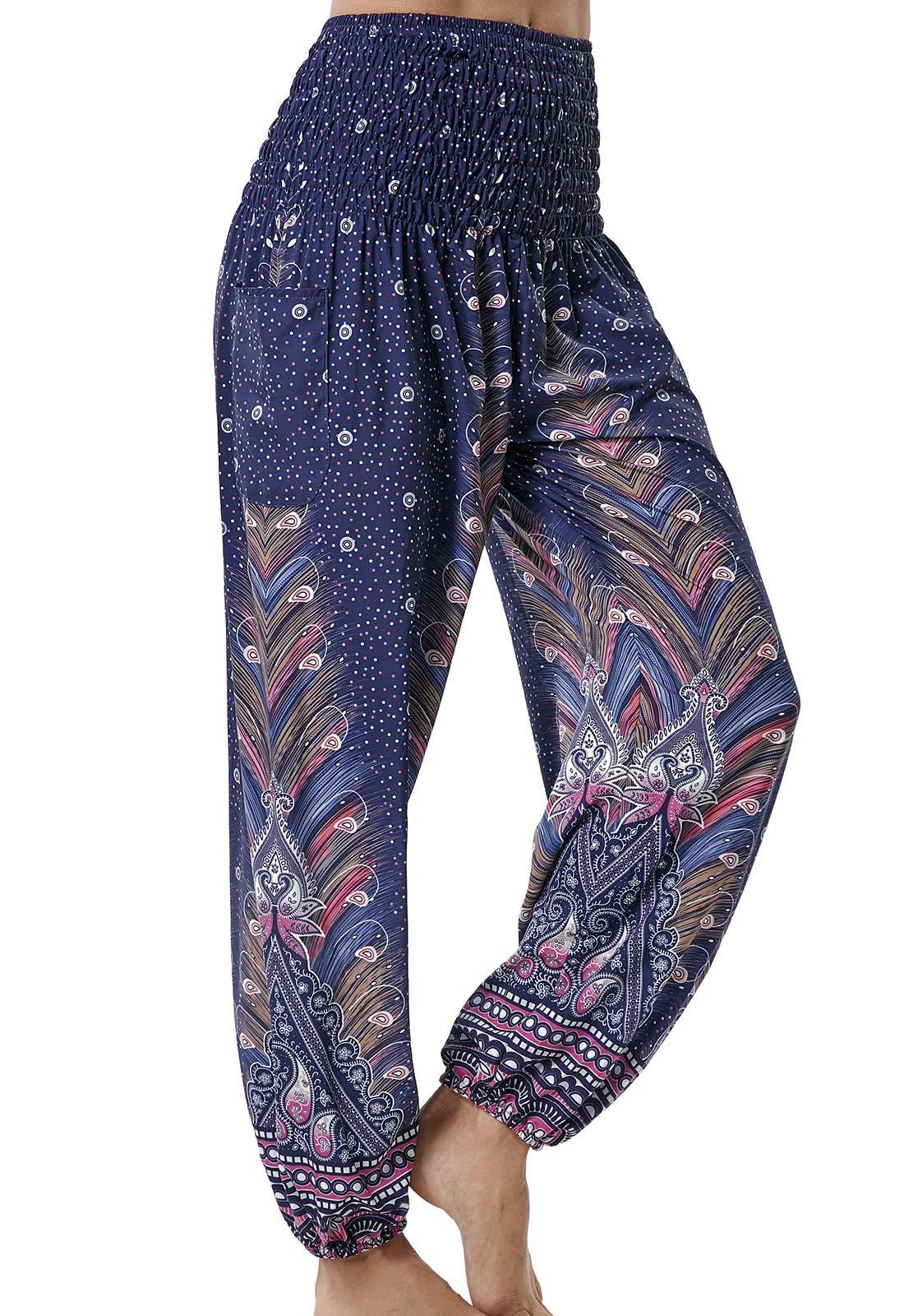 Pantalones de Yoga Sueltos Mujer Harem Boho del Lazo del Pavo Real Flaral Funky product image