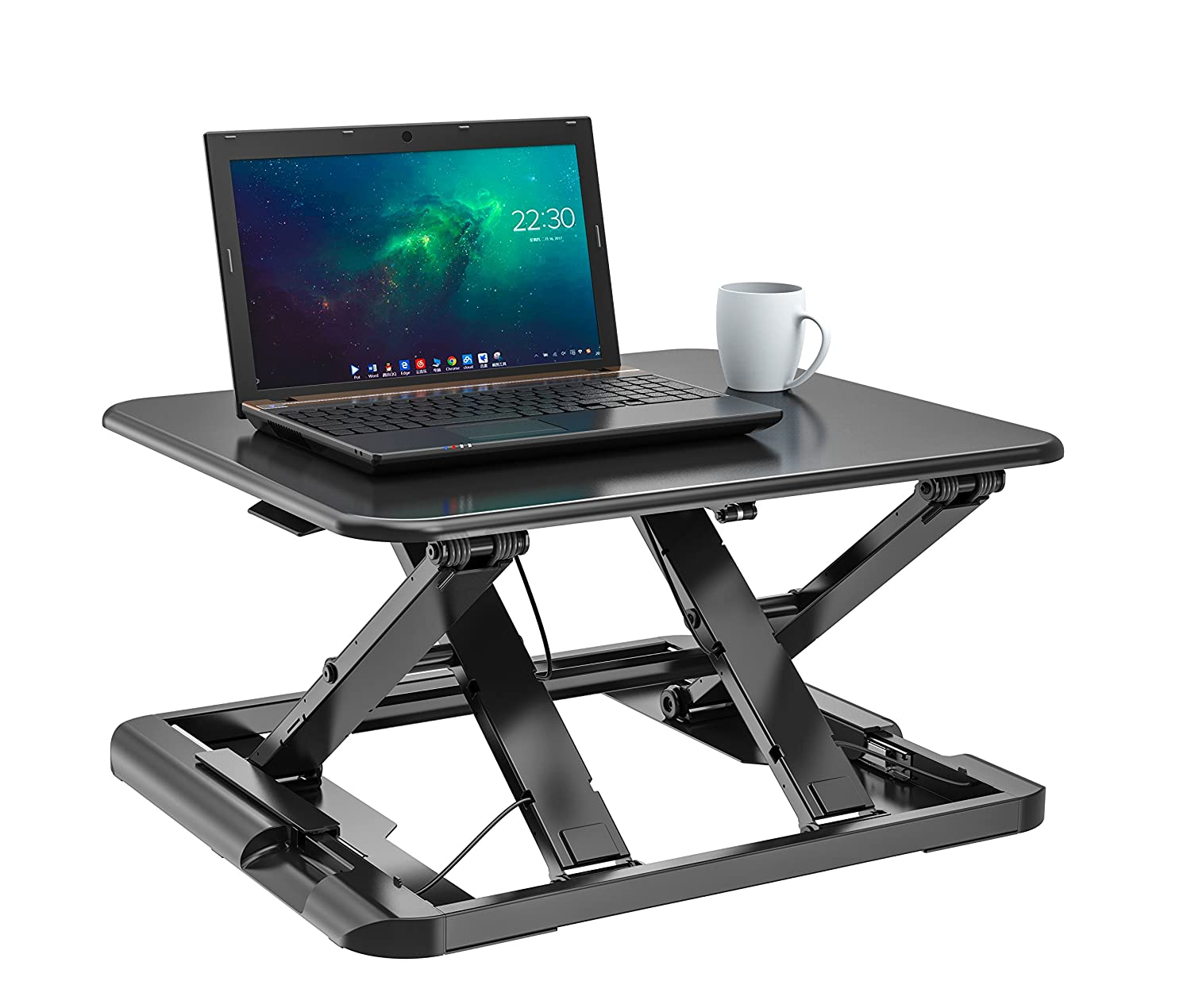 Height Adjustable Sit to Stand Desk Riser Monitor Stand with Gas Spring Height Adjustment Workstation SD05 (Black-WithTray) ShoppingAll