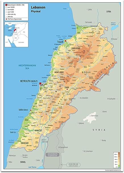 Cartina Politica Del Libano.Libano Mappa Fisica Carta Plastificata Ga A2 Amazon It Cancelleria E Prodotti Per Ufficio