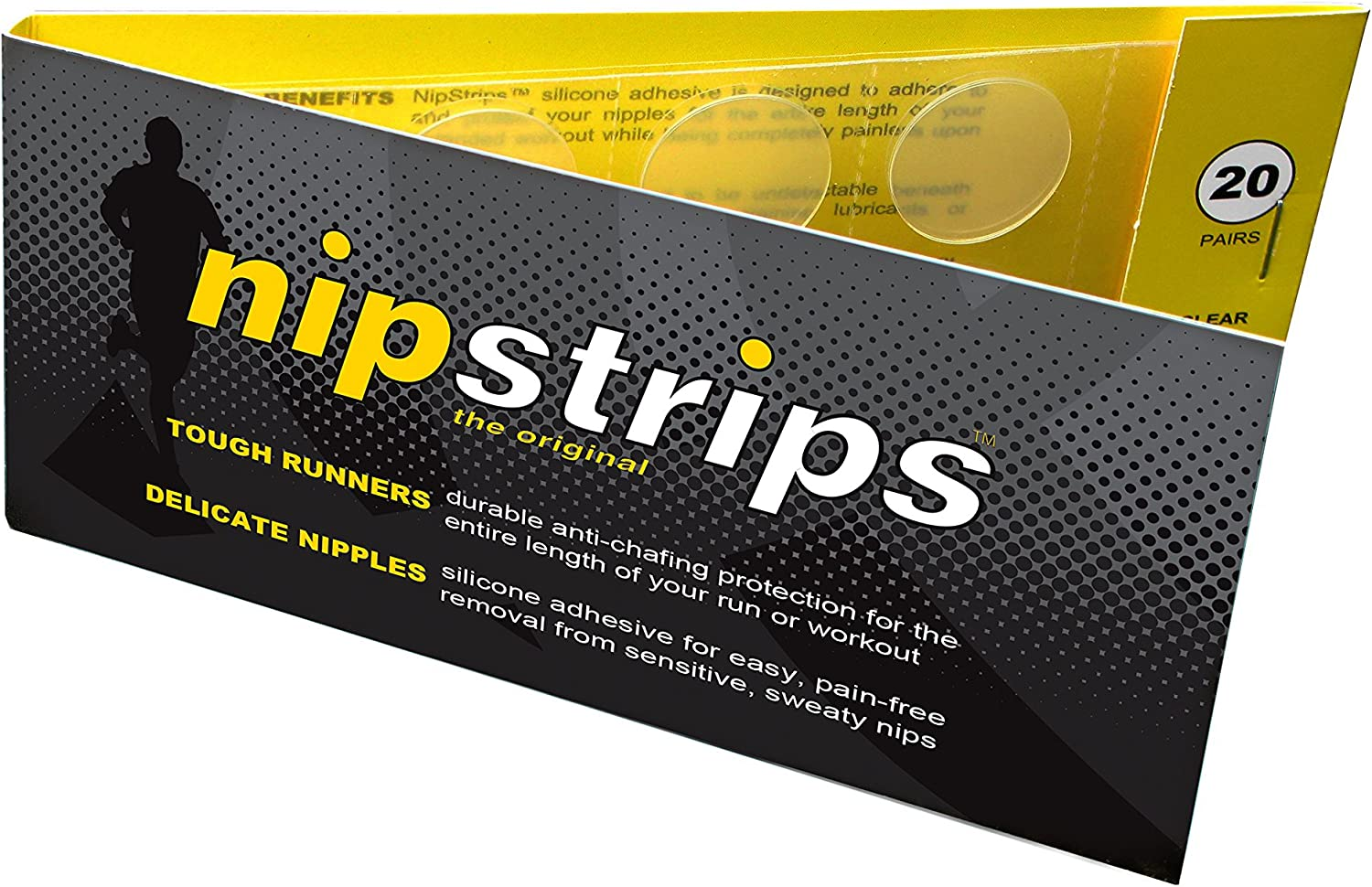 NipStrips Best Nipple Chafing Solution for Long Distance Runners, Clear Adhesives That are Discreet & Painless, Guaranteed to Go The Distance on Training & Race Day, Nip Guard Remedy - 20 Pairs