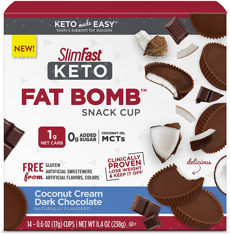 SlimFast Keto Fat Bomb Snacks - Coconut Cream Dark Chocolate - 14 Count Box - Pantry Friendly