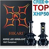 HIKARI LED Headlight Bulbs Conversion Kit -H7,CREE XHP50+XM-L2 9600lm 6K Cool White,2 Yr Warranty