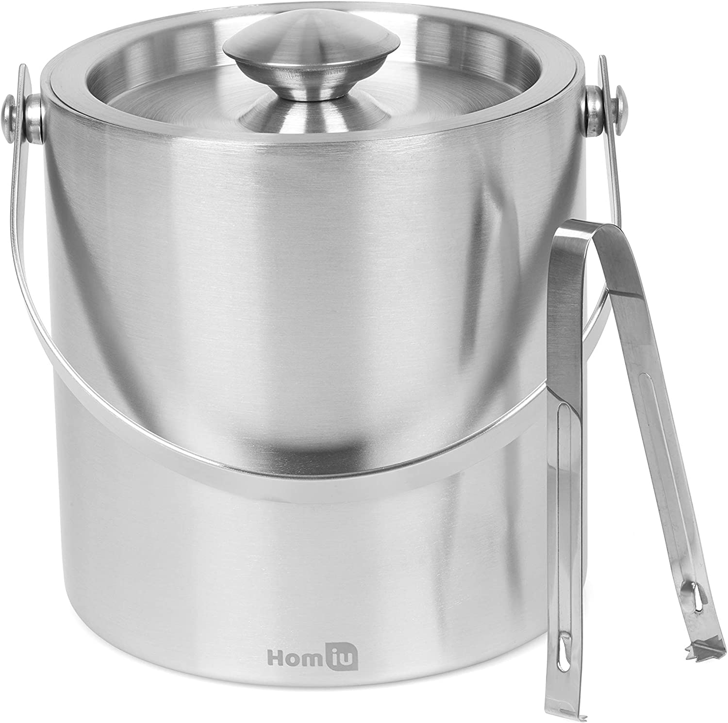 Homiu Ice Bucket with lid and tongs Stainless Steel Double Wall 1.5 Or 2 Litre Container Cube Thick Pail with Tweezers (2 L)