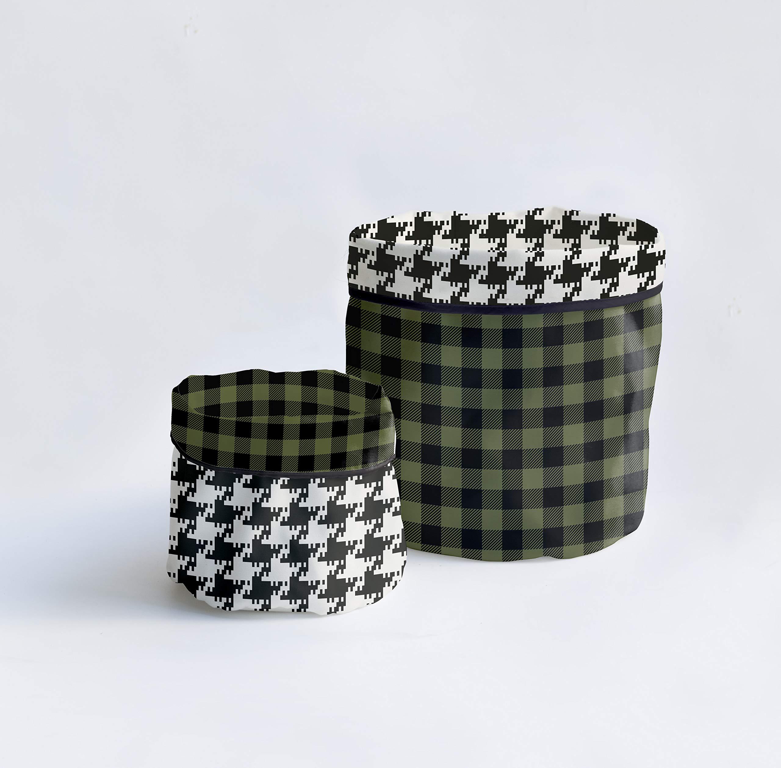 Dear Bestiario Green Tartan Set Baskets, Teflon Textile, Printed, Single 2